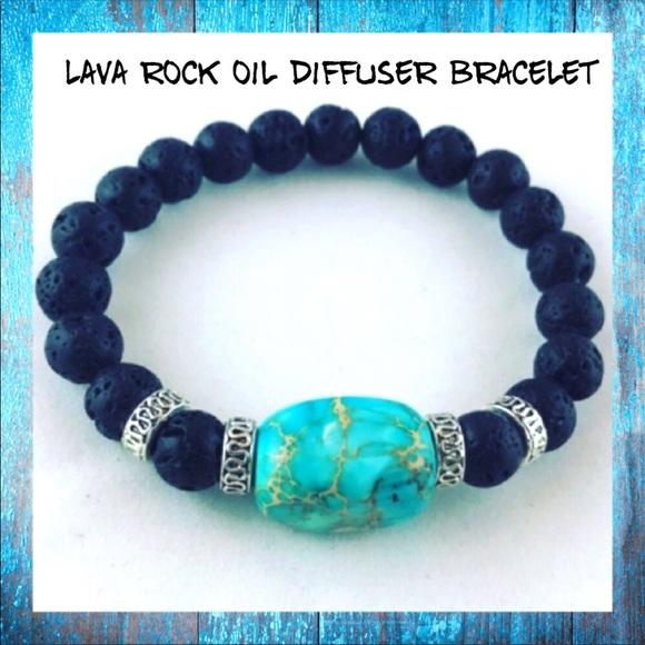 Silverskylight Jewelry - Genuine Lava rock & blue jasper gem boho bracelet